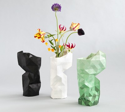Pepe Heykoop's Paper Vase Cover in black, green and white