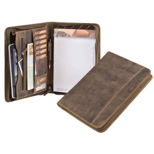 Knox luxury A4 writing folder of brown vintage leather