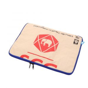 15,6 inch laptop sleeve of  recycled cement bags with blue zipper-Manoa