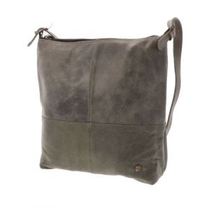 Shopper bag in grey/green leather
