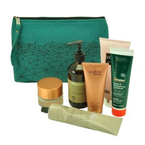 Anka - large toiletry bag of thick hand woven cotton - sea green