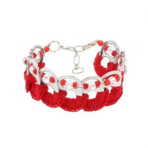 Esperanza bracelet from ring pulls - red