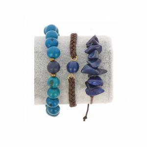 Bracelet set of tagua and acai - Laila blue