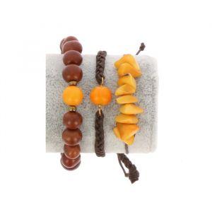 Bracelet set of tagua and acai - Laila ocher/brown