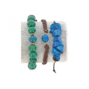 Bracelet set of tagua and acai - Laila blue/green