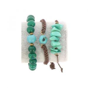 Bracelet set of tagua and acai - Laila green