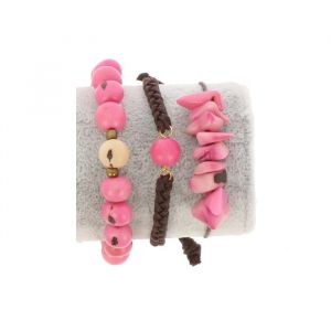 Bracelet set of tagua and acai - Laila pink/cream
