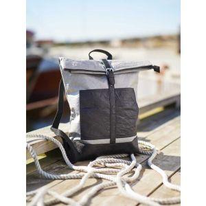 Lightweight Tyvek© backpack roll top Nikita - black/grey