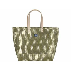 Large canvas shopper or beach bag - Florida olive green/white