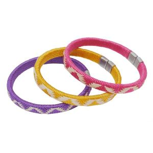 Set of  3 cana flecha bracelets - purple/yellow/pink