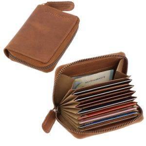 RFID card holder or credit card holder brown vintage eco leather - Dublin