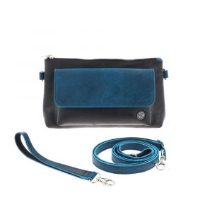 Crossbody bag and clutch of tyre tube and eco leather - Dulce - blue