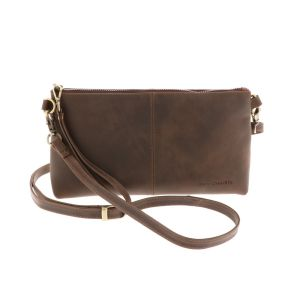 Crossbody bag made of darkbrown eco leather - Maidstone including detachable shoulder and wrist band