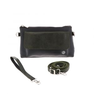 Crossbody bag and clutch of tyre tube and eco leather - Dulce - green