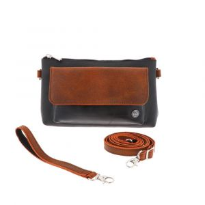 Crossbody bag and clutch of tyre tube and eco leather - Dulce - orange