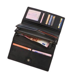 RFID dames portefeuille met veel pasjes vakjes in bruin vintage ecoleer