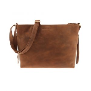 Ladies work bag with sleek design, made from vegetable tanned brown vintage leather