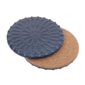 Sintra – luxury design coaster of ceramic and cork - steel blue