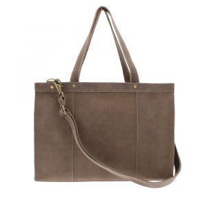 Ladies 14 inch laptopbag bison brown eco leather. Fair made