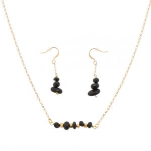 Earth - stylish jewelry set of earrings and necklace with black onyx
