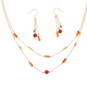 Fire - stylish jewelry set earrings and necklace with red mini agates