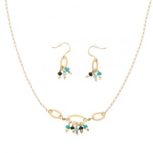 Water - stylish jewelry set of earrings and necklace with blue mini agates