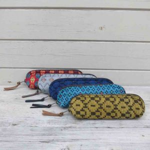 Pencil case handwoven Dhaka fabric - Camku. Red, grey, blue, turquoise and mustard yellow
