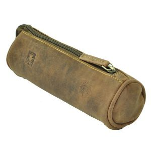 Idaho - round pencil case of vintage brown leather