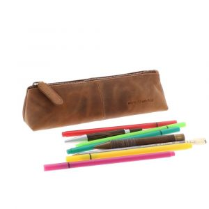 Pencil case in brown vintage eco leather