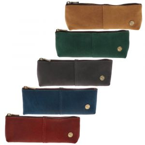 eco leather pouch/pencil case brown green grey blue red