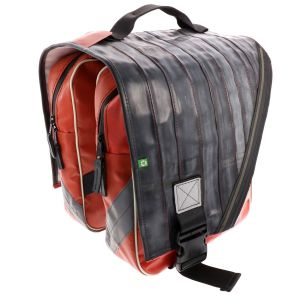 Luxury double pannier made of reused truck tarpaulin and inner bike tubes- Rotterdam