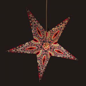 Papieren kerstster Ø60 cm Raja- incl. verlichtingsset-rood