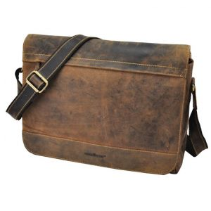 "Dakota – vintage brown leather messenger bag with 15.6"" laptop compartment"