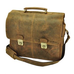 "Roomy business bag / 15,6"" laptopbag  vintage eco leather - Houston"