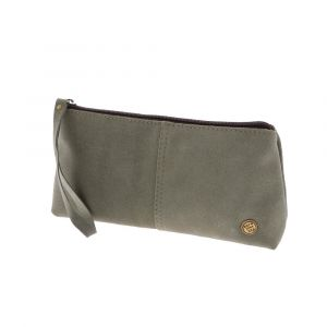 Large eco-leather clutch /purse - greyish green Fiesta