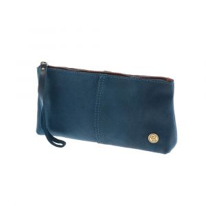 Fiësta - large pouch or clutch in petrol blue eco leather