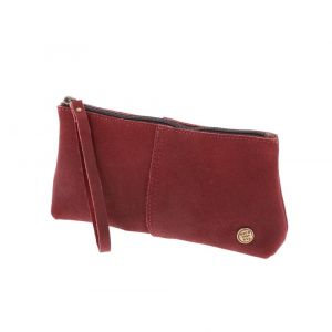 Large leather purse or clutch red. Fair made in Colombia