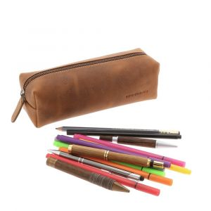 Large pencil or cosmetic case of brown vintage eco leather