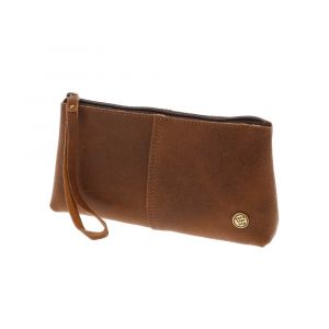 Large pouch or clutch in medium brown eco leather