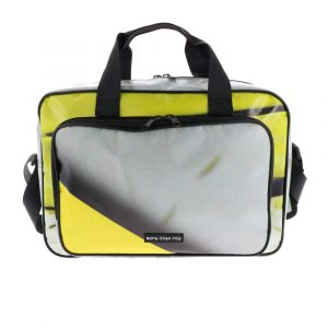 """Spacious 15.6"""" laptop bag from recycled billboards - Caz"""