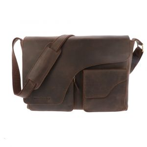 "Large laptop bag 15.6""  dark brown eco leather - Glasgow"