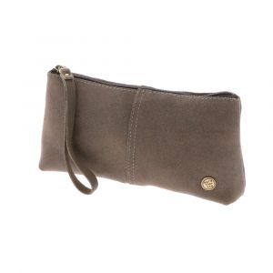 Large pencil case or wristlet brown leather. Fair made in Colombia
