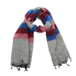 Pina - wide 'yak wool' shawl or wrap - grey/red/blue stripe