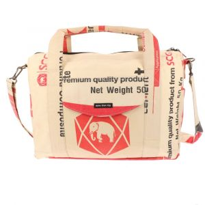 Large 15,6 inch laptop/work bag of recycled cement bags - Kiri - elephant