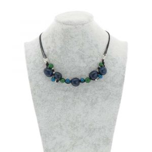 Jennyffer necklace with chicon and acai seeds - blue/green