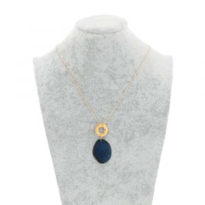 Celeste necklace with tagua pendant and a gold-coloured ring - blue
