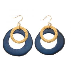 Celeste earrings with tagua pendant and a gold-coloured ring - blue