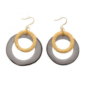 Celeste earrings with tagua pendant and a gold-coloured ring – grey