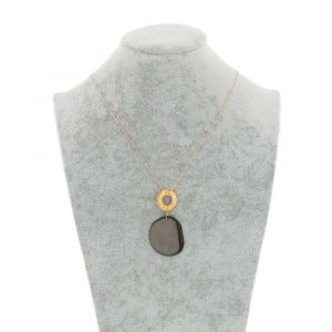 Celeste necklace with tagua pendant and a gold-coloured ring - grey