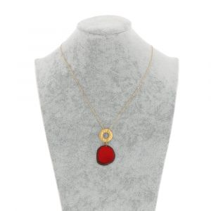 Celeste necklace with tagua pendant and a gold-coloured ring - red